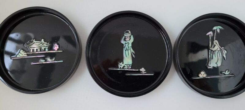 Black Lacquer Mother Of Pearl Coasters Set Of Six Korea Vintage