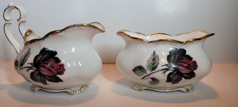 Royal Albert England Masquerade Small Black Rose Creamer And Bowl