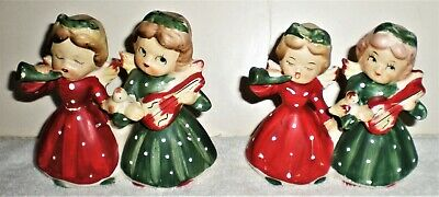 SET OF 2 VINTAGE CHRISTMAS COMMODORE CERAMIC ANGEL CANDLE HOLDERS -1950'S JAPAN