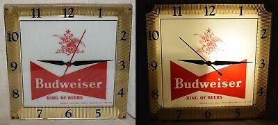 Vintage 1959 Budweiser King of Beers Lighted Clock - Working - Advertising Prod.