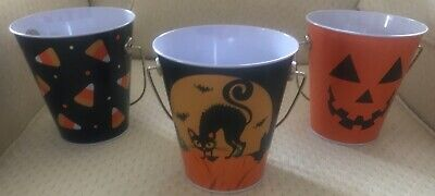 Halloween Pails/Buckets-Set of 3-a Frightened Cat, Jack-O'Lantern & Candy Corn.