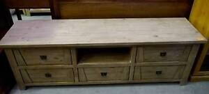 New Large Rustic Timber 5 Drawer Lounge TV Entertainment Unit Melbourne CBD Melbourne City Preview