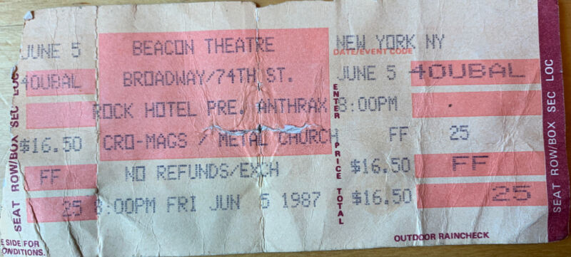 1987 Anthrax Cro Mags Metal Church Beacon Theatre NYC Concert Ticket Stub 6/5/87