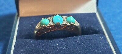 9ct Vintage Turquiose& Diamond Ladies Ring. DC88