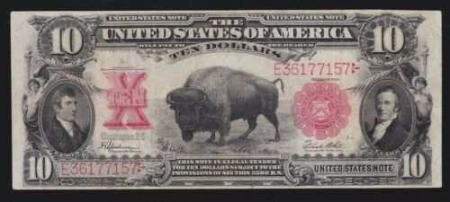 """US 1901 $10 """"Bison"""" Legal Tender FR 122 VF-XF (-157)"""