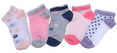 5 pairs of Floral /& Spotty Baby Girls Socks 6-12 months