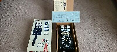 VINTAGE ELECTRIC-KIT CAT KLOCK-KAT JEWEL CLOCK-W/ORIGINAL MOTOR AND BOX