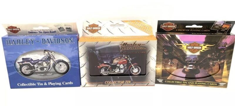Lot Of 3 Harley Davidson Collectible Playing Card Sets Decks Tins Sealed New HD