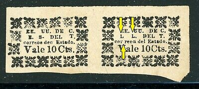 TOLIMA Early MNG Selections: 10c Wove Paper Pair L. L. Variety SEE SCAN $$$