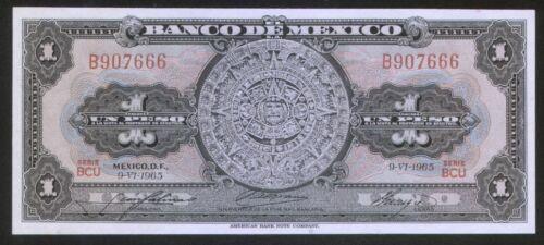 Mexico 1 Peso 1965 Pick 59 UNC #907666