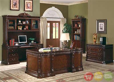 Office Furniture 5pc Set Executive Desk Credenza Hutch File & Bookcase Dark Wood