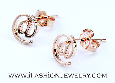 Chic Small Gold Tone  Sign Symbol E Mail Address Web Metal Stud Earrings Jewelry