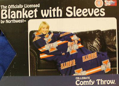 Comfy Throw Fleece Blanket w/ Sleeves Licensed College- Illinois Fighting Illini Illinois Fleece Throw Blanket