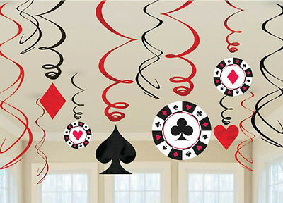 Large Playing Cards Decorations (12 x CASINO Hanging Swirls Decorations Large Value Pack FREE P&P playing)