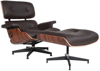 - Mid-Century Eames Lounge Chair & Ottoman Reproduction Leather Brown Palisander