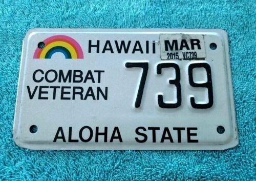 2015 Hawaii Combat Veteran Motorcycle MC License Plate Excellent Condition Rare!
