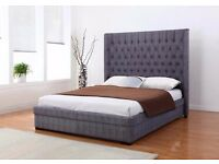 NEW Genesis 4ft 6 Grey Fabric Bed & High Quality Orthopedic Memory Foam Mattress