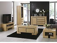 Furniture set including 2 tall units, 1 coffee table, 1 side cabinet and 1 radiator cover