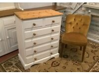 Vintage White Solid Pine Chest Of Drawers *FREE LOCAL DELIVERY* Four Two Shabby Chic Bedside Dresser