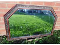 (#603) stunning unusual wooden frame mirror (Pick up only, Dy4 area)