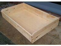 large underbed storage wooden drawer. On wheels. 189cm x 94cm. high quality. in excellent condition