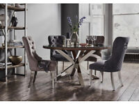 Stylish Dining Table with 4 soft Quilted Chairs Set