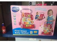 First steps baby walker pink