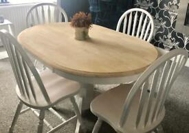 Lovely oval shabby chic dining table and chairs