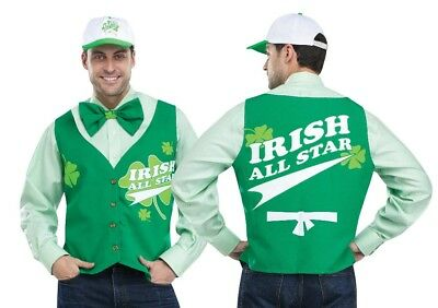 St. Patrick's Day Irish All-Star Instant Costume Adult Costume Vest Bow Tie Hat - All Saints Day Costumes