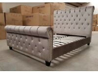 Brand New England Style Chesterfield Luxury Velvet Fabric double or King size bed frame
