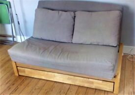 Beautiful solid Oak Futon sofa bed for sale. £449.00 Cost £899.00 from the Futon company.