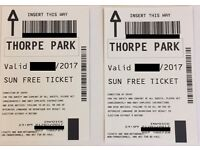 2x Tickets to THORPE PARK for 4th July 2017 (04/07/2017) WEEKDAY = EMPTY PARK (ACTUAL TICKETS)