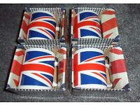 4 x BRAND NEW + BOXED - Pottery Ceramic Tea or Coffee Mugs - Union Jack Royal Standard Design