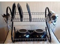 Brand New 2 Tier space saving dish drainer in chrome & black