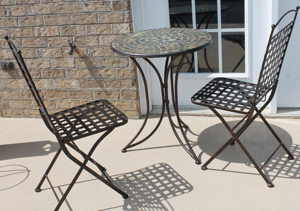 Garden Furniture - Patio Lawn Furniture Set Metal Bistro Table w/2 Chairs-Outdoor Garden-LOCAL PKUP