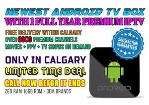 CALGARY FREE DELIVERY - ANDROID TV BOX + 1 Full Year Premium IPTV with 6000 Premium Channels + VOD + PPV