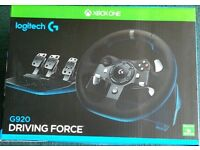 NEW&SEALED Logitech G920 UK Plug Driving Force Racing Wheel for Xbox One and PC