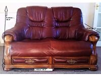 3 Piece Leather suit and footstool