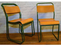 6 available Du-al ply stacking vintage chair antique industrial restaurant retro seating cafe wooden