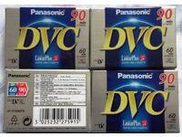 PRESENT BRAND NEW PACK OF 4 ORIGINAL PANASONIC DIGITAL VIDEO CASSETTE DVM60 - 90 MINUTES