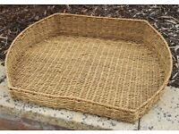 Medium/Large Size Flat Wicker Dog/ Pet Basket/ Bed with Fleece Insert 69 x 50 x 14 cm