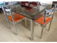 Glass Topped DINING Table and Four Chairs 1970s