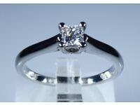 "IGI Certified ""LEO Diamond"" Platinum 0.26ct Diamond Solitaire Princess Engagement Ring rrp £2,500"
