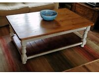 Large solid pine coffee table with shelf