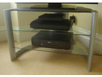 Corner TV stand with glass shelves - very good condition