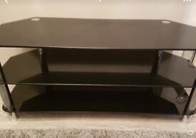 Black and silver glass TV stand