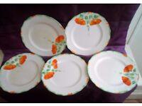 Set of FIVE Vintage ART DECO Hand Painted Tea Plates