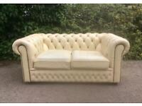 Vintage Cream Leather Chesterfield 2 Seater Sofa