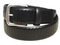 BLACK leather belt Ex House of Fraser Mens Ladies SILVER BUCKLE 1016