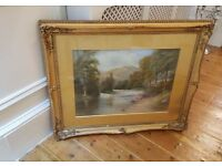large antique painting, in original glazed frame, signed and dated 1916